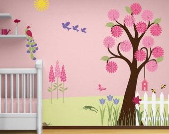 Flower Garden Wall Mural Stencil Kit for Girls or Baby Room (stl1002)