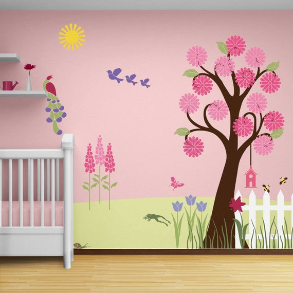 Flower garden wall mural stencil kit for girls or baby room for Girls murals