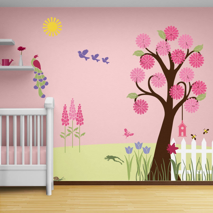 flower garden wall mural stencil kit for girls or baby room. Black Bedroom Furniture Sets. Home Design Ideas
