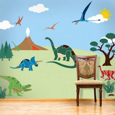 Dinosaur Mural Kit Of Dinosaur Wall Mural Stencil Kit For Boys Or Baby By