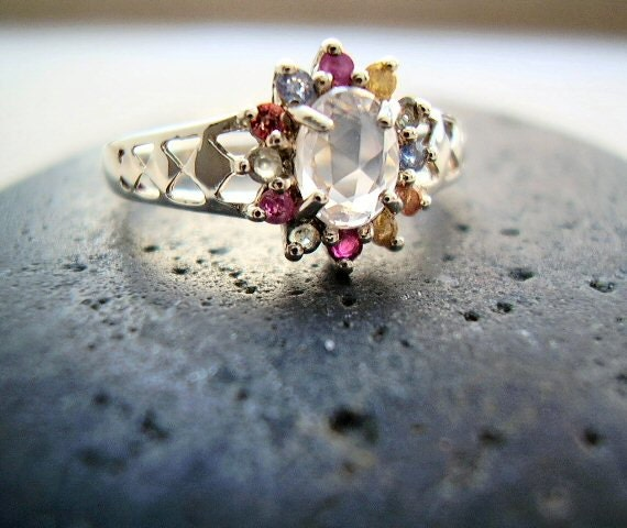 Harlequin - Multi Colored & White Sapphire - Cocktail - Engagement - OOAK Ring