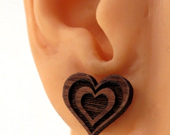 Beating Heart Sustainable Wooden Post Earrings - Walnut Wood Studs