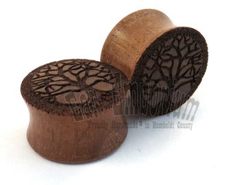 "Tree of Life Walnut Wooden Plugs PAIR - 2g (6mm) through 2'' (51mm) - 0g 8mm 00g 9mm 10mm 7/16"" 11mm 1/2"" 13mm 9/16"" 14mm and up Ear Gauges"