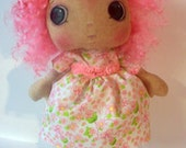 Art Doll OOAK Cloth, Spring, Pink, Raggedy Ann