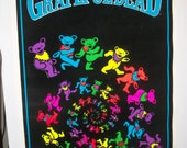 SALE Grateful Dead - Dancing Bears Flocked Original Blacklight Poster