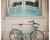 mint green paris bicycle bike photo print - whimsical fine art color photography, europe, building, blue, turquoise, wanderlust, wheels - oohprettyshiny