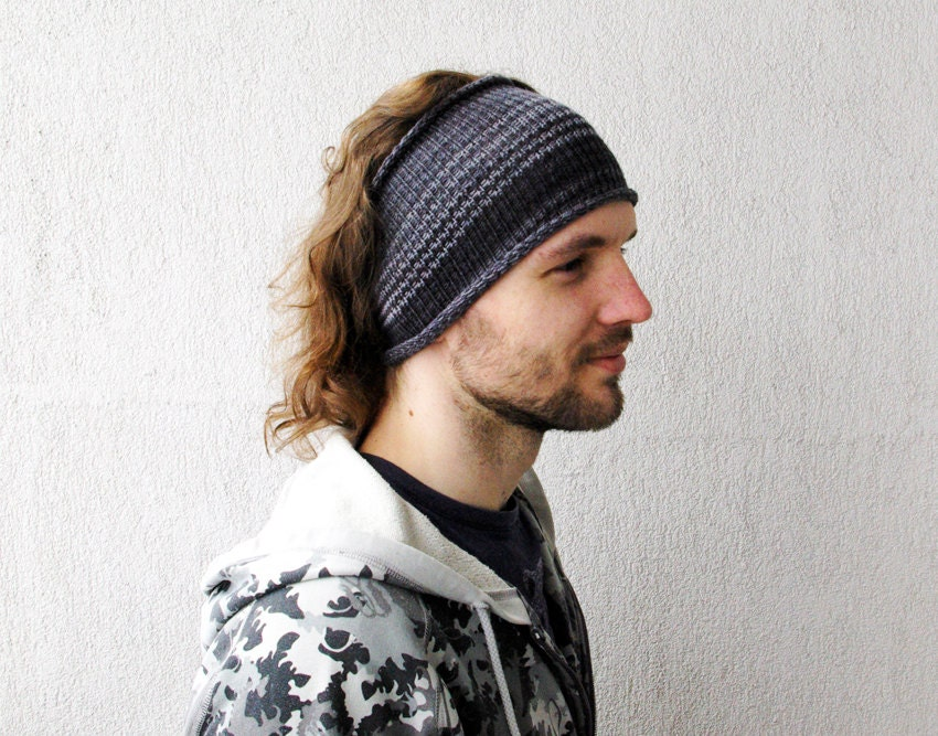 knitted mens headband guys knit hair wrap grey unisex adults