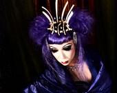 Real Rib Bone and Vertebrae Crown with Rhinestone Embellishments Sexy Crown Dark Queen Gothic Apocalyptic Princess Oddities
