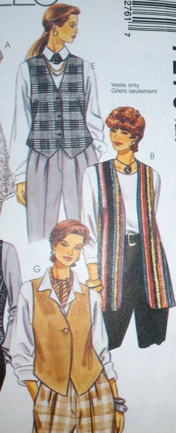 """Women's Sewing Pattern McCall's 7276 Unlined Vests have Length and Front Variations Sizes 4-14 Bust 29.5-36"""""""