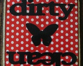 Dirty and Clean Dishwasher Sign Magnet or Velcro-black butterfly, red and white polka dots with black dirty and clean words