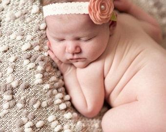 Vintage Pink Wool Felt Rose Lace Headband - Newborn Baby to Adult