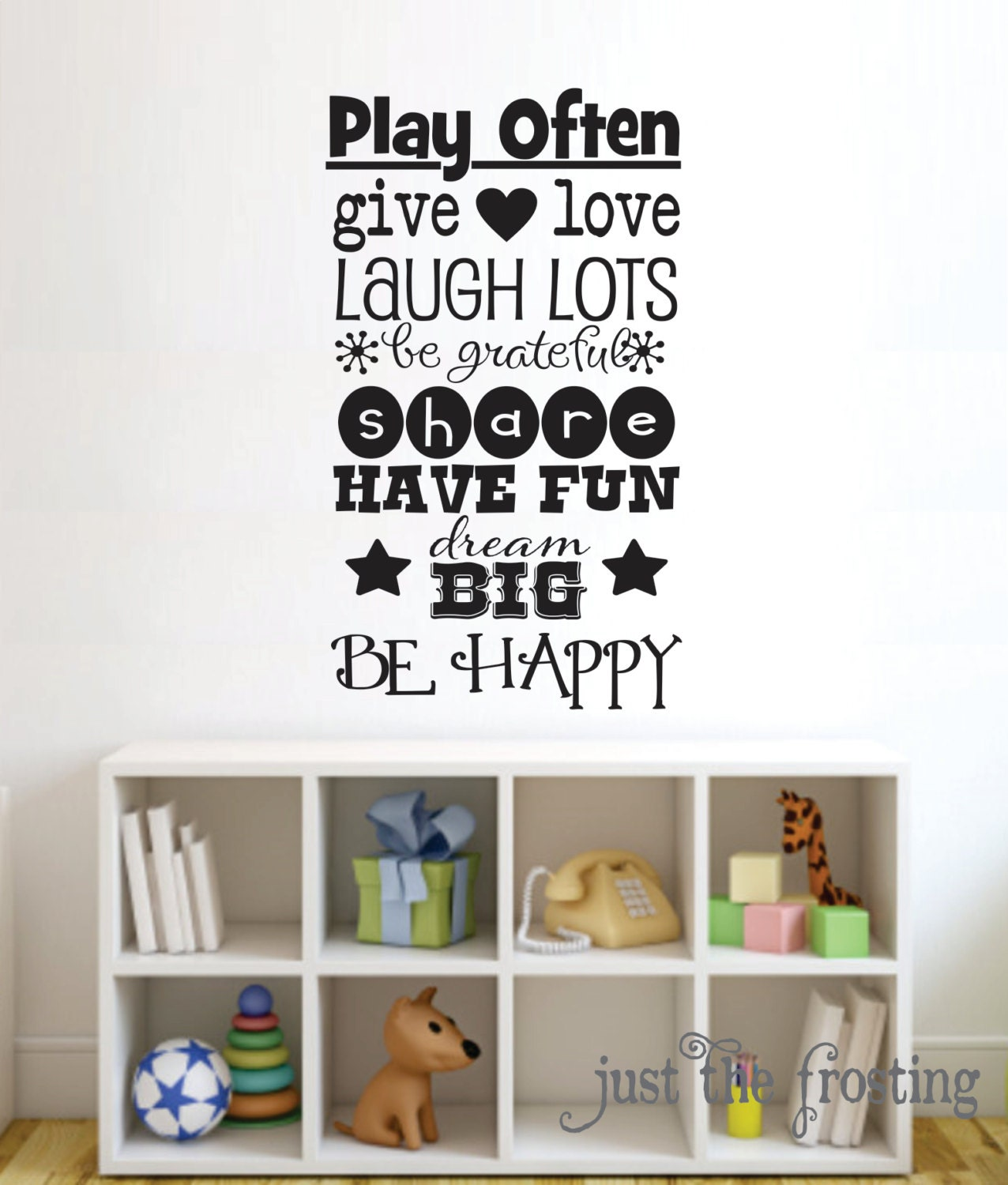 playroom childrens decor vinyl wall lettering art girl or. Black Bedroom Furniture Sets. Home Design Ideas