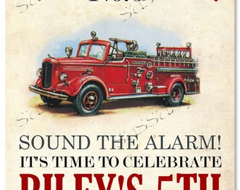 Firetruck Party Sign - INSTANT DOWNLOAD - Partially Editable & Printable Birthday Fire Engine, Fireman, Welcome Poster by Sassaby Parties