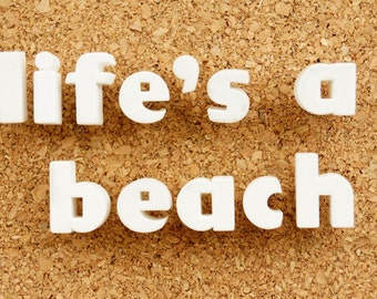"""Vintage White Ceramic Push Pins """"Life's a Beach"""" - Bulletin Board Decor, Altered Art Supply, and more"""