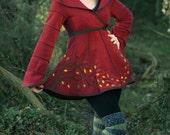 Plain Autumn Tree Short Tournedot Fleece Jacket(length 3). 6 stripe positively pixie hood/ 6 stripe sidhe sleeves.