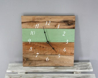 Reclaimed Pallet Wood Clock, Repurposed, Hip, Simple, Tasteful. Painte Wall Clock. GIFT.  CUSTOM color.