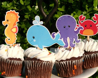 DIY Print at Home Under the Sea Ocean Cupcake Toppers Set of 12 Images