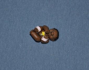 1/12 Scale Dollhouse Doll - Handmade OOAK Polymer Clay - Newborn Black Girl Baby with Ambilical Stump - Layla Jeanice