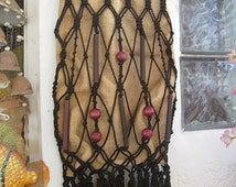 Handmade Fringed Jute Handbag / Tote, Adorned with Net Art Strings and Wooden Beads and Canes, Vintage