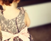 Cherry Blossom Spring Dress- Grey, Pink and White- Girls sizes 0 to 3mo to 8 years- Some sizes ready to ship