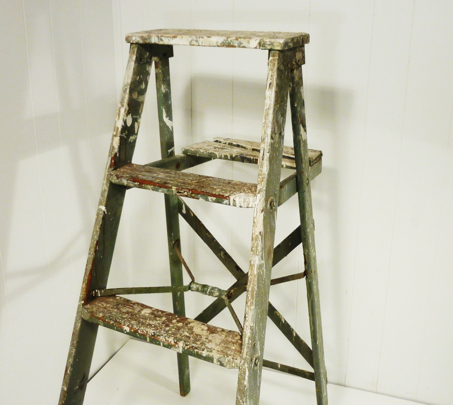 Vintage Splashy Paint Wooden Step Ladder Step Stool By