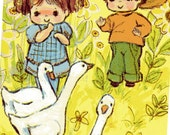 Rustic Birthday Card For two/ 2 Year Old Child Goose Geese 1960's