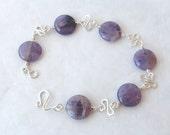 Amethyst Bracelet: Amethyst & Sterling Silver Bracelet w/ Handcrafted Sterling Silver Links - EllaAndTess