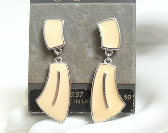 Trifari Cream Enamel Earrings - New on Card - Pierced