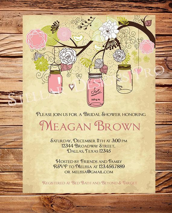 vintage mason jars invitationvintage bridal shower invitationwedding showermason jars branches pink brown 5272 - Vintage Wedding Shower Invitations