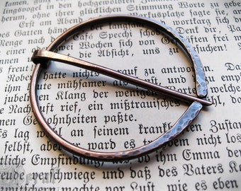 Cloak Pin of Hand Forged Copper Shawl Pin. Knitting Clasp. Anglo Saxon Penannular Brooch. MADE TO ORDER