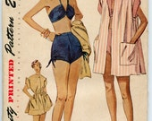 1950s Vintage Sewing Pattern Simplicity 3234 Misses Bathing Suit Two Piece Swimsuit Beach Coat Vintage Sewing Pattern Bust 34