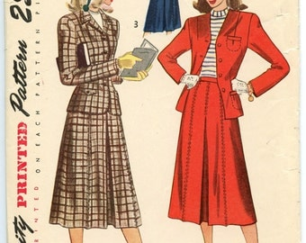 1940s Simplicity 2341 Vintage Sewing Pattern Teen's Jacket & Skirt Misses Teens Bust 28
