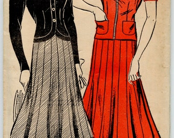 Late 1930's Dress Pattern New York 971 Ladies' and Misses' Two-Piece Dress and Hat Vintage Sewing Pattern  Bust 32