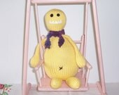 """Toy Monster Knitted Doll """"Miss Cornflower"""" Yellow and Purple Yarn Handmade Hand Knitted"""