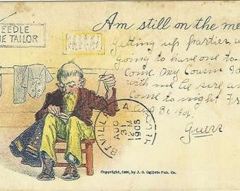 "Antique Undivided Back UB Postcard Comic  ""Am Still On The Mend""  1905"