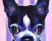 Boston Terrier, Pet Portrait, DawgArt, Dog Art, Pet Portrait Artist, Colorful Pet Portrait, Boston Terrier Art, Art Prints, Dog Painting