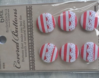 6 pcs Pink stripes lace covered buttons