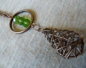Wrapped Earth Drop Necklace with Hammered Copper Hoop and Green Beads