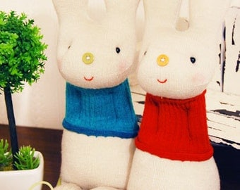 "Mali Sock Doll, Sock Rabbit, Red Blue Sweater Twin Bunnies, ""Mia & Paul"""
