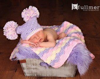 Baby Girl Gift Set, Crochet Baby Travel Blanket and Hat Gift Set, pink, cream, and purple