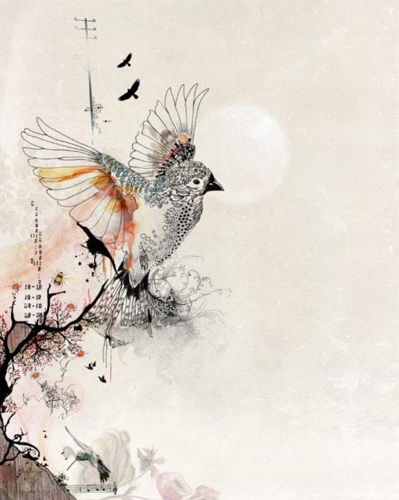Dessin Original de peintures aquarelles, lunatique impression art vol d'oiseau, plume et encre
