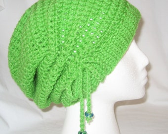 Crochet hat cinched slouchy in bright green made to fit teens and adults