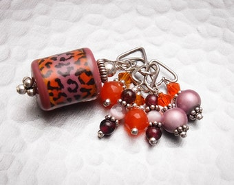 Big Hole Bracelet Dangle Charm - Pink and Orange Leopard - Handmade Sra Lampwork Sterling