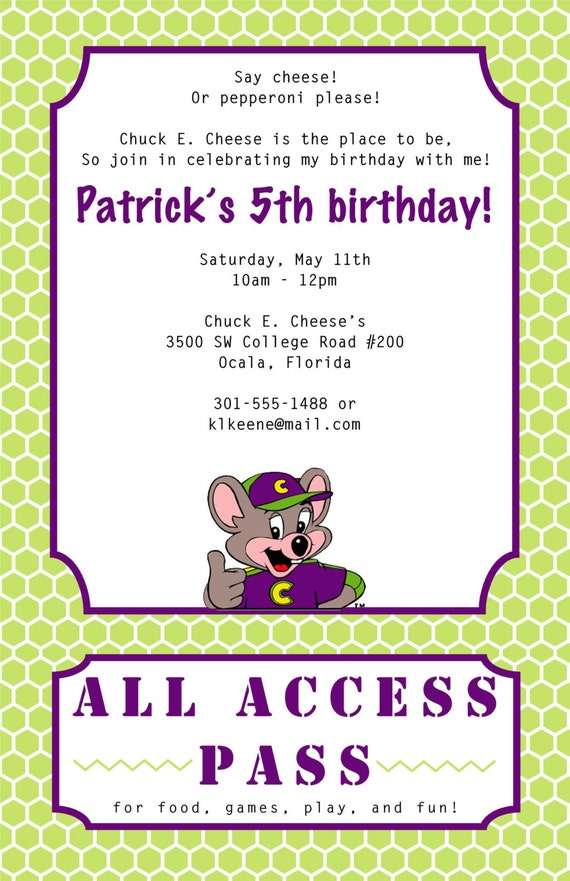 chuck e cheese birthday invitation, Birthday invitations