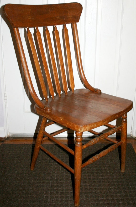 early american primitive windsor style arrow back slats oak side chair