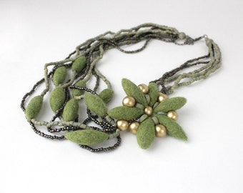 Felted Flower Necklace With Wood And Iridescent Beads