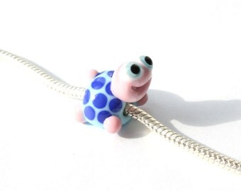 Lampwork big hole beads fits bracelet-handmade glass large hole beads-turtle with  dots bead