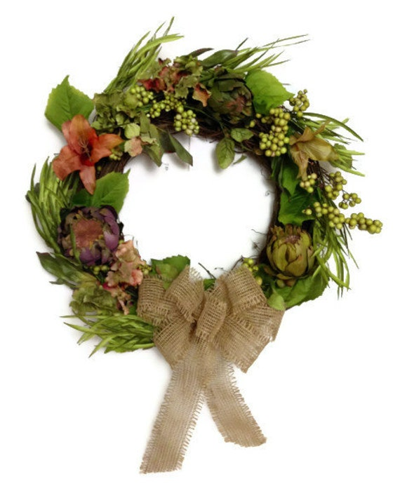 Hydrangea Lily Berry Grapevine Door Wreath Home By