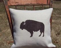 Buffalo Pillow Cover - Buffalo Silhouette Decorative Pillow - Burlap Pillow - Rustic Lodge Decor - Southwestern Decor Pillow - Cabin Pillow