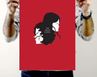 White Stripes Print - A3 Size, Jack White, Meg White, Red and black illustration, Art Print, Band Poster, Art Print, Minimalist, minimal